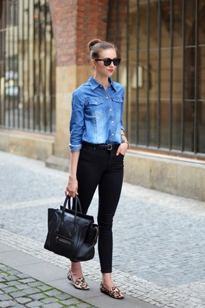 black Topshop jeans - camel sam edelman shoes - blue Choies shirt
