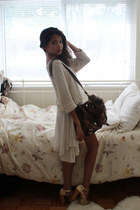 ivory Topshop dress - ivory flea market sweater - dark brown Romwecom bag