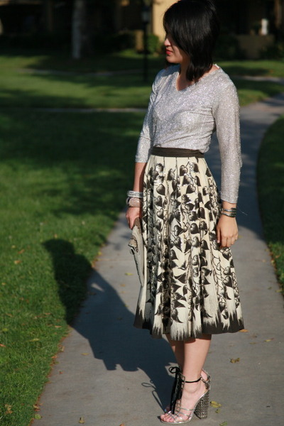 vintage skirt - vintage shirt - YSL shoes - vintage accessories