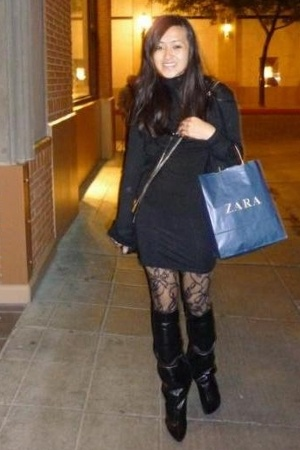 American Apparel dress - Zara sweater - Nordstrom tights - Alexander Wang purse