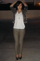 vintage blazer - Cheap Monday jeans - Christian Louboutin shoes - James Perse t-