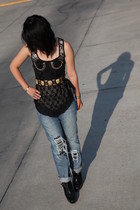 Levis jeans - Silence & Noise top - vintage belt - vintage corset accessories -