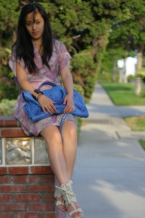 balenciaga purse - vintage dress - Jeffrey Campbell shoes