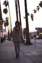 beige f21 blouse - beige Marni shoes - gray f21 jeans - brown vintage belt