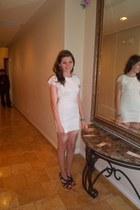 white lace dress - black studded heels