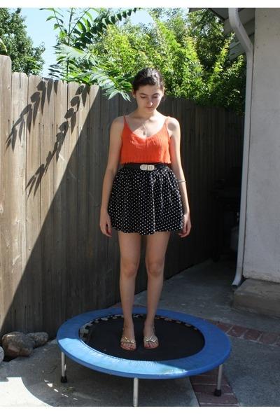orange Cache top - black polka dot cotton on skirt - black vintage belt