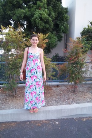 floral maxi H&M dress - gold bow BCBG sandals