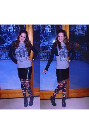 black Forever 21 skirt - gray delias shirt - gray