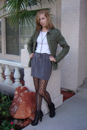gray Forever 21 skirt - green Mossimo jacket - black Mossimo tights - black Cand