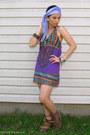 light brown Steve Madden boots - deep purple gifted dress - violet landmark scar