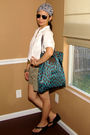blue Marc by Marc Jacobs purse - white Walmart blouse - green Gap shorts - black