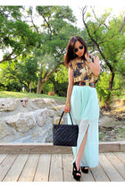 aquamarine slit maxi skirt Forever 21 skirt - black medallion tote Chanel bag