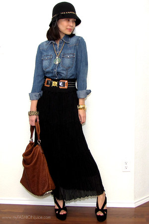 black Forever 21 hat - blue denim Gap jacket - dark brown darcy Alexander Wang b