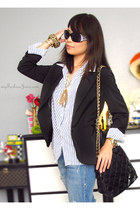 white Karen Scott blouse - sky blue Forever 21 jeans - black Guess blazer