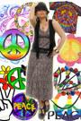 maxi H&M dress - Forever 21 hat - fringe Target vest - Forever 21 clogs
