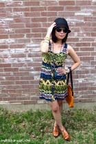 blue tribal print Forever 21 dress - black Forever 21 hat - tawny faux ostrich v
