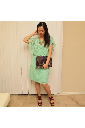 crimson mac Rebecca Minkoff bag - aquamarine eyelet Elle & Michelle dress