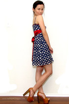 navy polka dots Forever 21 dress - tawny dany Jessica Simpson clogs