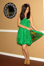 green BoAime dress - brown Steve Madden - purple Forever 21 accessories