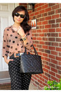 Peach-sheer-polka-dto-forever-21-blouse-black-medallion-tote-chanel-bag