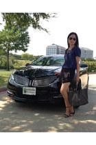 black goyard bag - black Zara shorts - black Zara heels - blue Michael Kors top