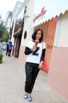 white z sweater Zara sweater - salmon Tiffany & Co bag - black Guess pants