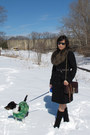black Bass boots - black wool H&M coat - dark brown faux fur stole H&M scarf - c
