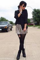 black ankle peep toe Bamboo boots - black DKNY tights - beige leopard print LuLu