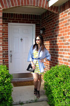blue Marks & Spencer shirt - yellow Forever 21 dress - blue Forever 21 belt - bl