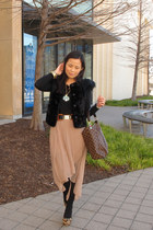 dark brown Louis Vuitton bag - peach Forever 21 skirt