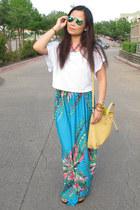 camel Tiffany & Co bag - aquamarine flash lens ray-ban sunglasses
