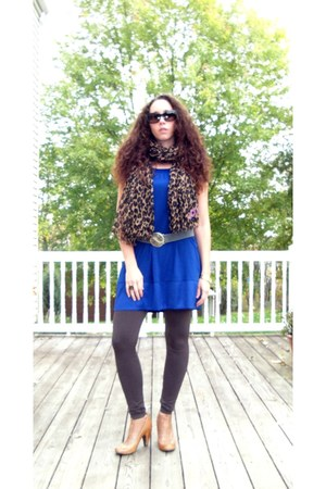 Louis Vuitton scarf - navy Express dress - dark brown Nordstrom tights