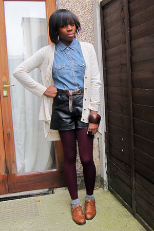 sky blue Forever 21 shirt - tawny brogues Office shoes