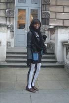 self-made scarf - Topshop jacket - Topshop shirt - H&M dress - asos tights