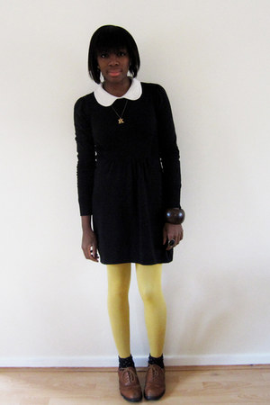 black asos dress - yellow Topshop tights - dark brown Office shoes