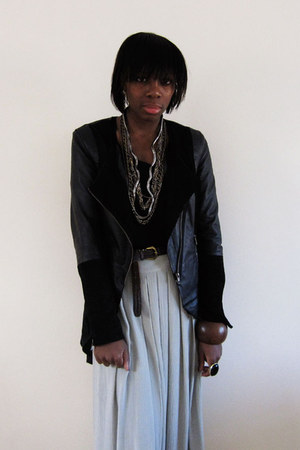 black Vero Moda jacket - black Oak NYC top - off white thrifted vintage skirt -