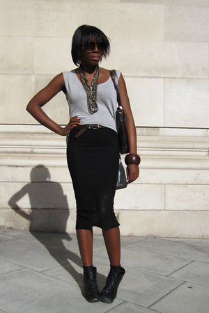 silver Topshop top - black Topshop skirt - black vintage from Ebay boots - brown