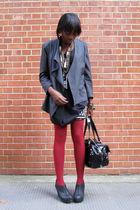 gray vintage jacket - red Uniqlo tights - black The Scarlet Room top - RARE skir