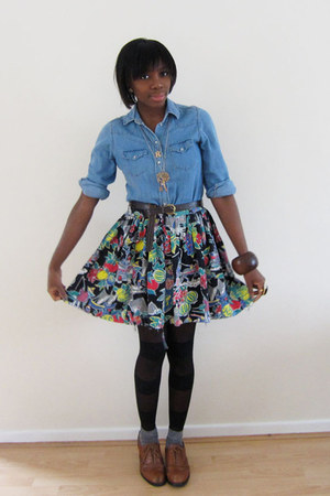 blue Topshop shirt - red vintage skirt - black Urban Outfitters tights - heather
