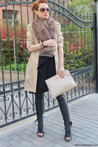 black Zara leggings - beige Principles coat - beige Musette bag