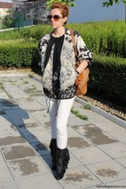 decorated H&M jacket - Zara jeans - Chloe bag - Valentino sunglasses