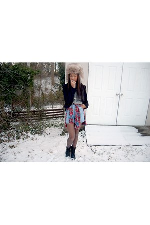 black thrift boots - H&M hat - black H&M blazer
