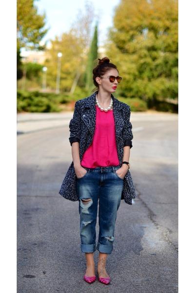 Zara jeans - gray Zara jacket - hot pink Zara shirt