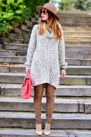neutral Zara shoes - brown Zara hat - neutral H&M jumper