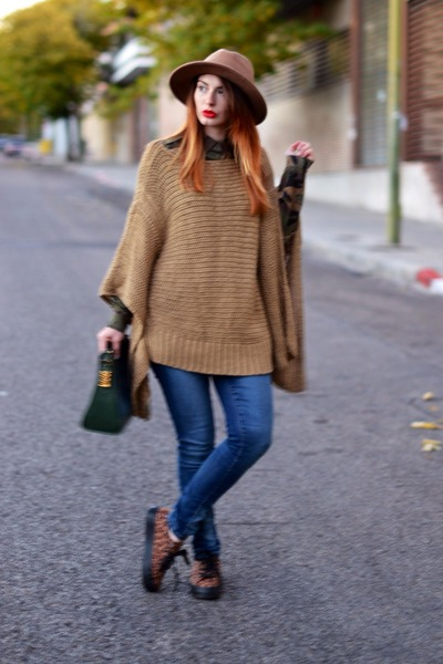 brown Zara jumper - burnt orange Zara hat - green loewe bag