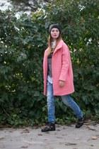 pink Zara coat - black Zara boots