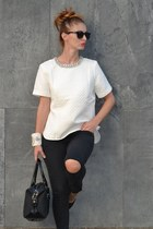 white Zara top - black Bershka jeans - black Burberry bag