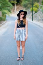 silver Zara shorts - black Bershka top
