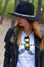 Tino-gonzales-boots-black-zara-hat-black-zara-jacket-white-lefties-t-shirt