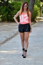 black Zara shoes - black leather BLANCO shorts - white Ray Ban sunglasses